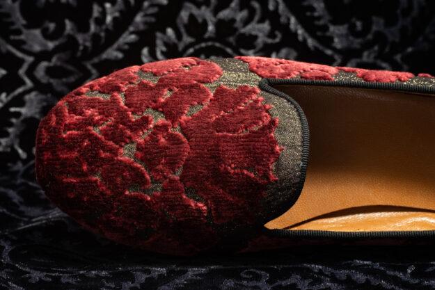 pantofola rosso scuro con ricami nicolao atelier 5